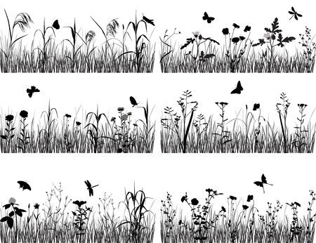 Collection of silhouettes of flowers and grasses Stock fotó - 84748788