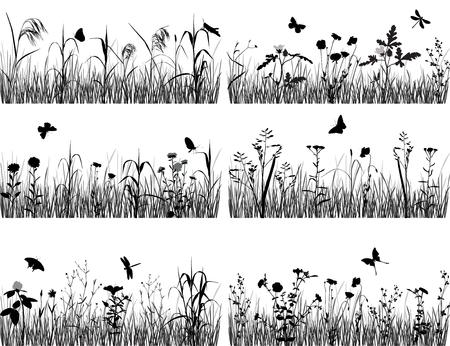 Verzameling van silhouetten van bloemen en grassen