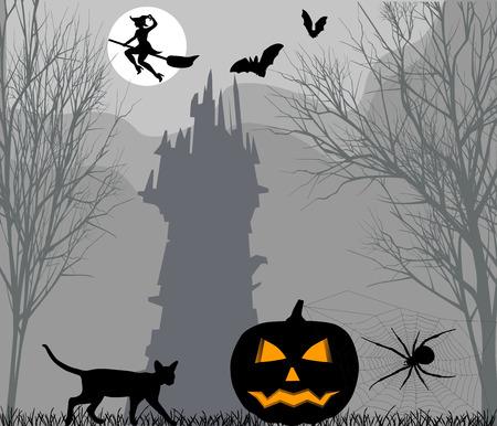 Halloween pompoen op de achtergrond van bos en donker kasteel
