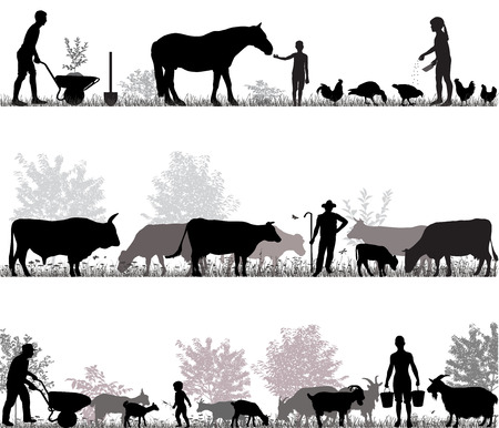 Silhouetten van boeren op het werk en boerderijdieren Stockfoto - 87270285