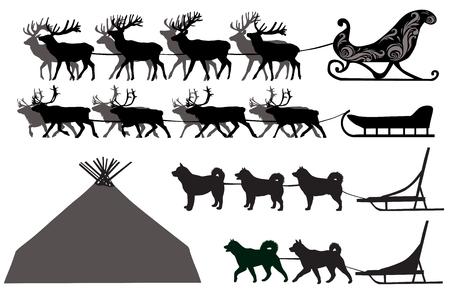 Silhouetten van herten sleeën en hondensleeën
