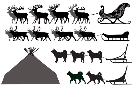 Silhouettes of deer sleds and dog sleds
