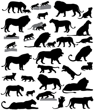 Collection of silhouettes of lions and lion cubs Stock Illustratie