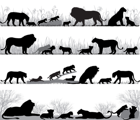 Silhouettes of lions and lion cubs outdoors Vectores