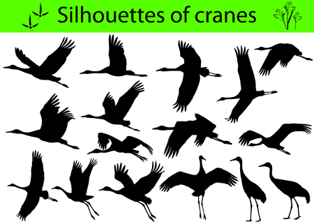 Collection of silhouettes of cranes Иллюстрация