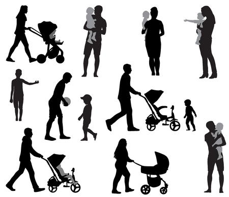 Silhouettes of mothers and fathers with children illustration.