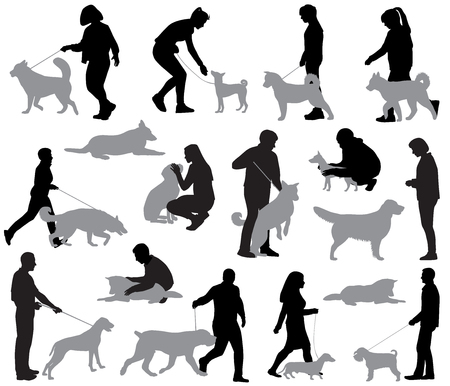 Silhouettes of people with dogs in different positions and situations