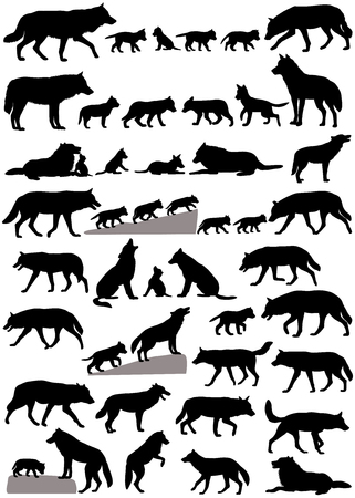 Collection of silhouettes of wolves and wolf-cubs
