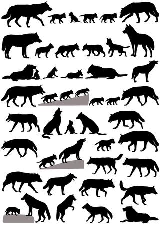 Verzameling silhouetten van wolven en wolvenwelpen