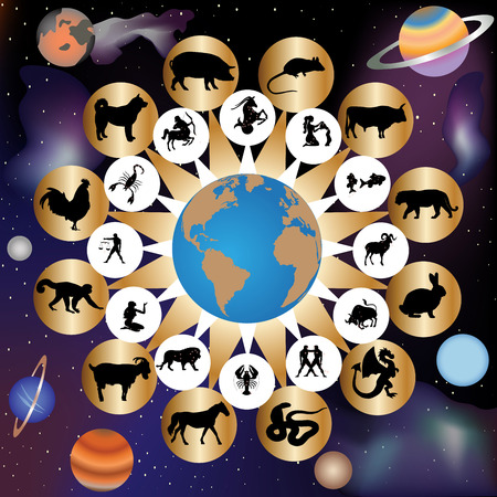 Zodiac signs by western and eastern calendar on background of sky and planets