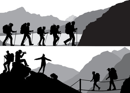 Silhouettes of mans and womans in hike against the background of wild nature