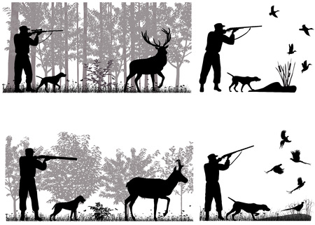 L'homme avec le chien chasse le cerf, le pronghorn, les canards et les faisans