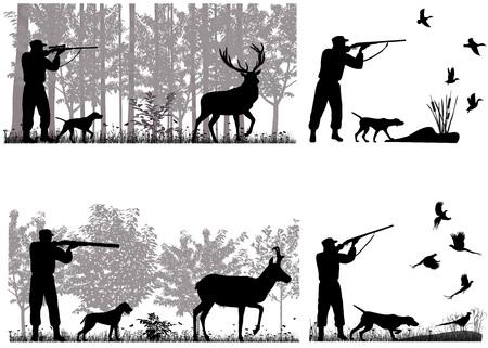 Mann mit Hund jagt Hirsche, Gabelböcke, Enten und Fasane