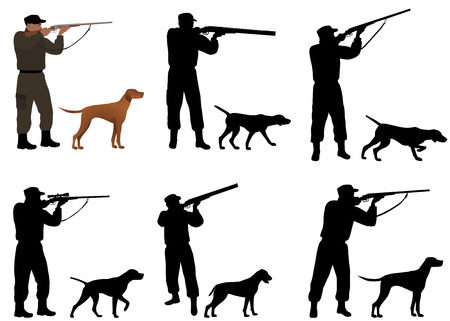 Collection of silhouettes of hunters with dogs Stockfoto - 126453132
