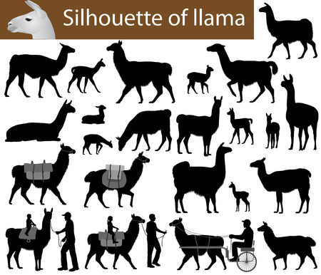 Collection of silhouettes of llamas and its cubs