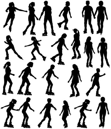 Collection of silhouettes of children and teenagers on roller skates
