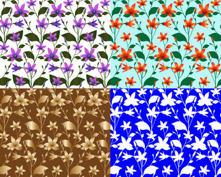 Seamless pattern with bellflower (bluebell) in colour image