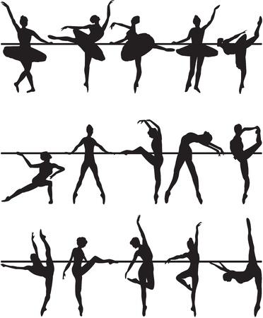 danseres silhouet: Balletdansers silhouetten op een witte achtergrond