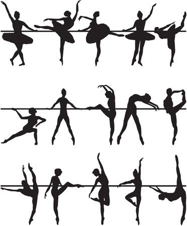 bailarines silueta: Siluetas de los bailarines de ballet en el fondo blanco