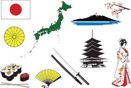 Miniatures representing characters in Japan. Vector objects on a white background. Иллюстрация