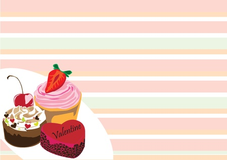 cake on Valentine Vector