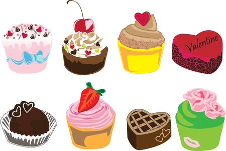 8 different cakes on a white background