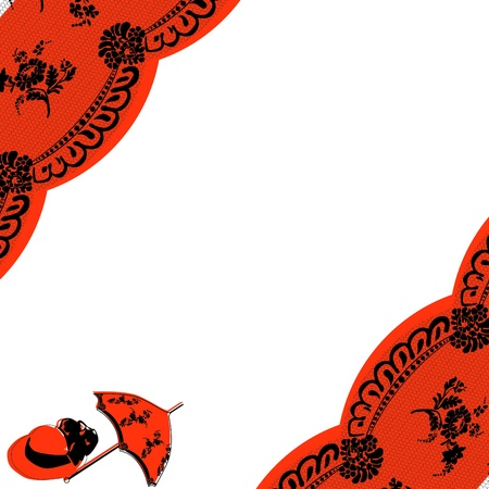 the substrate: black lace at the corner of the substrate with an orange and white background Illustration