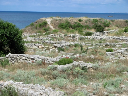 The remains of the ancient city of Chersonesus, 528 years. BCE. Oe. Founded by the ancient Greeks to Heracleian peninsula on the southwest coast of the Crimea.