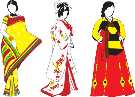 silhouettes of Japanese, Korean, Indian girls on white background