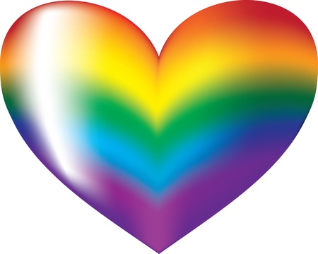 gay marriage: colorful heart symbol on a white background Illustration