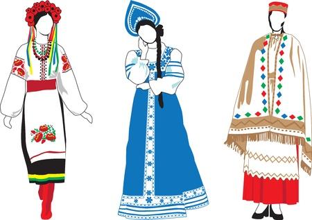 Las mujeres europeas con el traje tradicional sobre un fondo blanco