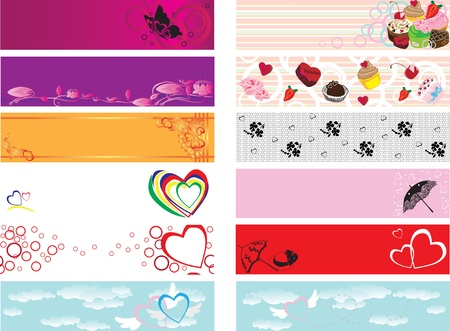12 seamless banners with the theme of Valentine's Day, love Stock Vector - 12048371