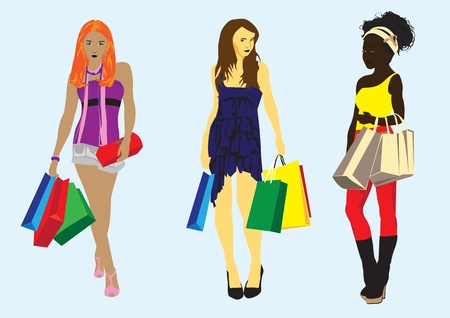 redhead woman: different girls with the packages, shopping