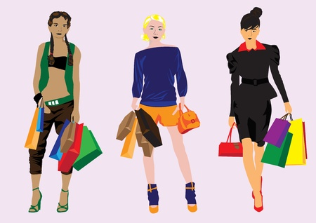 purchaser: different girls with the packages, shopping