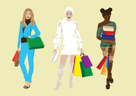 Different girls with the packages, shopping Vector