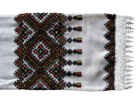 traditional Ukrainian embroidered towel on white background Stock Photo - 12407351