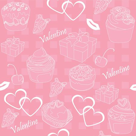 seamless background with elements on the theme of love, celebration Vector