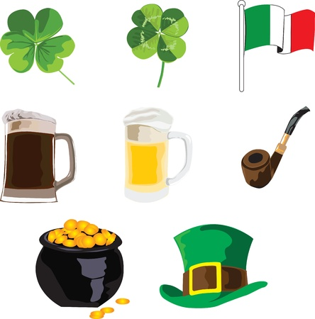 symbols of the holiday of St. Patrick on a white background Vector