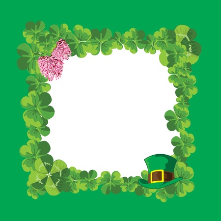 green frame of leaves and flowers of clover symbols of the holiday Stock Vector - 12407344