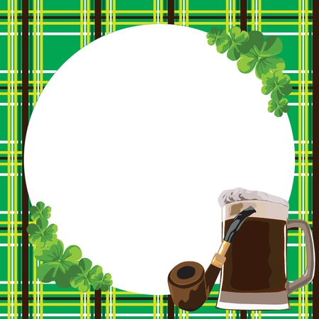 Checkered border with the symbols of the day St. Patricks Stock Vector - 12407341