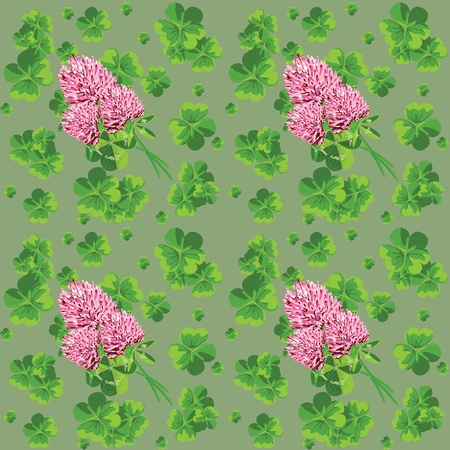 Green seamless background with flowers and leaves of clover Vector