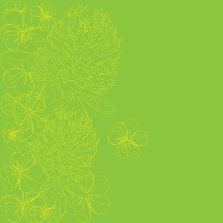 green background with the outlines of leaves and flowers of clover Vector