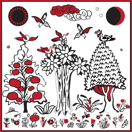 collection of Russian folk popular prints depicting images of nature in ancient style for decoration Vector