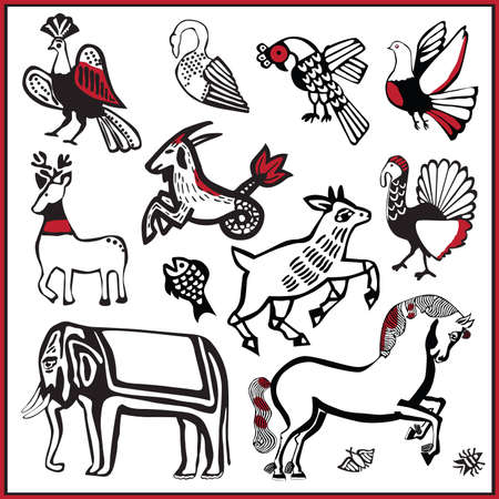 Russian folk splints pictures with animals in the old style Vector