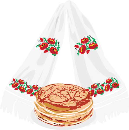 pancake week: characters Pancake: Pancakes and embroidered towel on white background