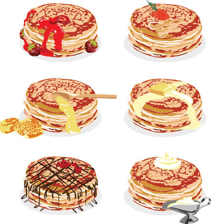 a stack of pancakes with different fillings on white background Vector