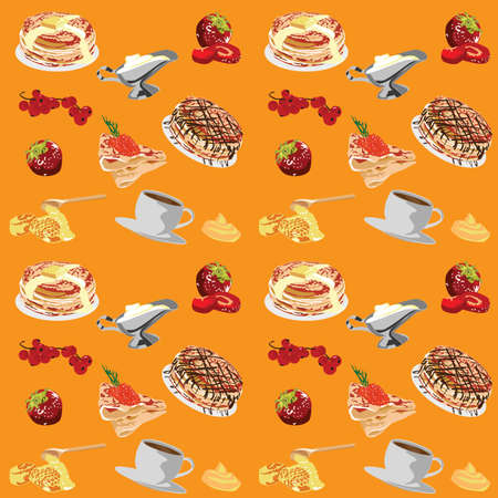 Cheerful, bright background with pancakes Stock Vector - 12407321