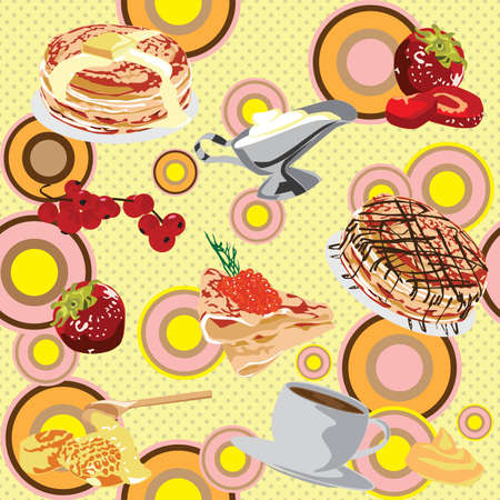 Cheerful, bright background with pancakes Vector