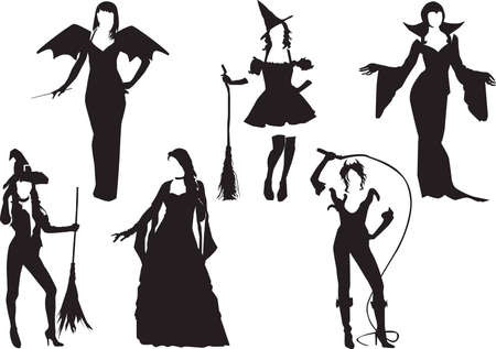 Silhouettes of girls dressed as fairies and witches on a white background Vector