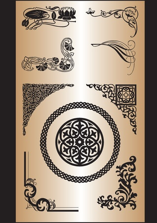 celtic design: a set of patterns of different styles to process corners